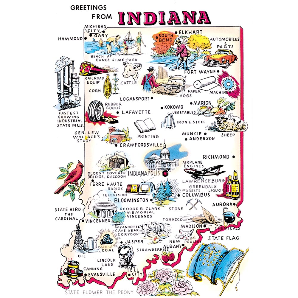91 Indiana Map Postcard